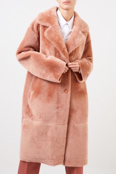 Furry Lammfell-Wendemantel Peach