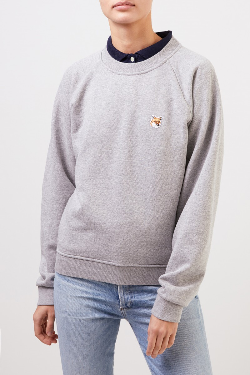 Maison Kitsuné Sweatshirt 'Fox Head Patch' Hellgrau