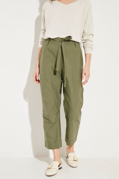 Cotton pants with belt green