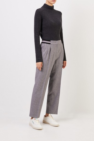 Iris von Arnim Gabardine trousers 'Janna' with elastic waistband Grey