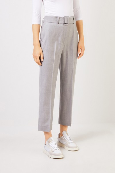 Fabiana Filippi Wool Pants with Belt Grey Melange