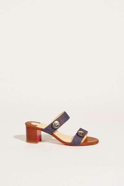 Leather sandal 'Dechiragogo' with block heel Denim Blue