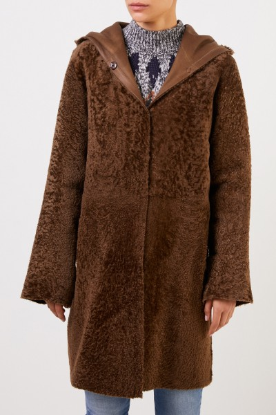 Furry Reversible Lambskin Coat with Hood Brown
