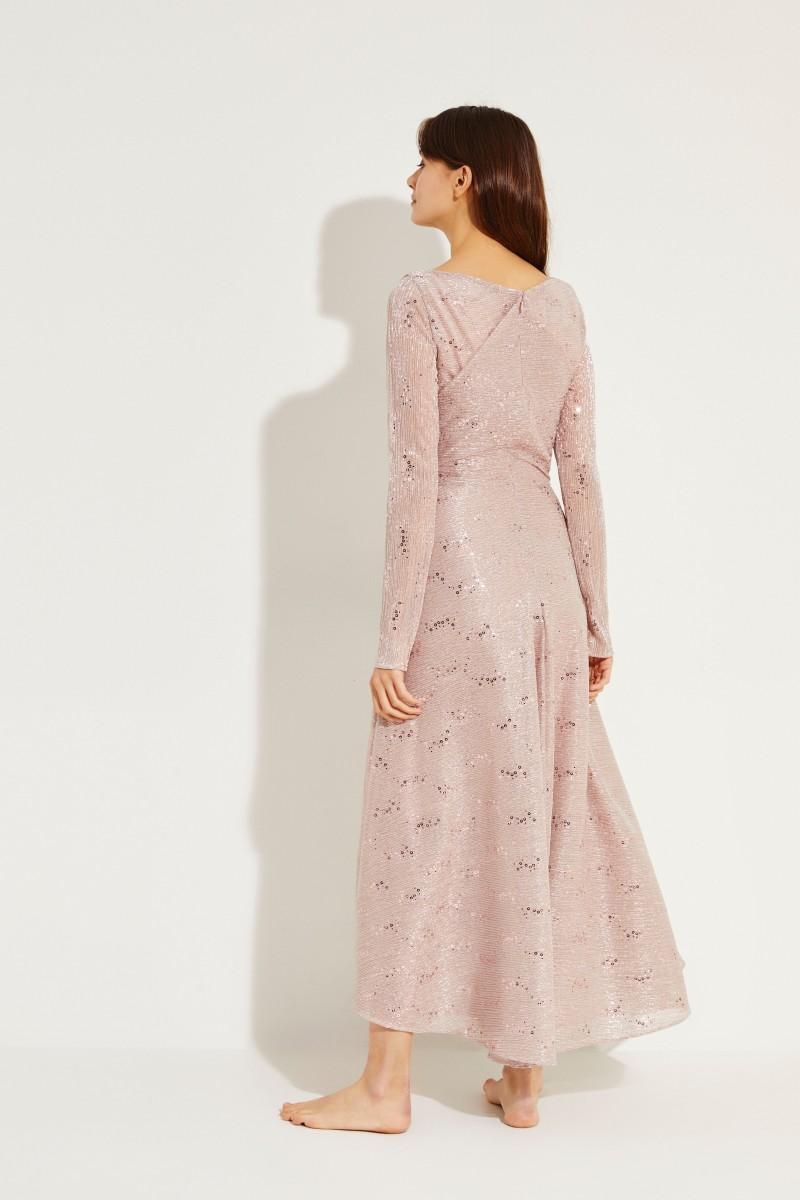 Langes Abendkleid mit Pailletten Rosé