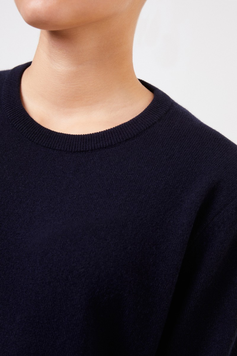 The Row Cashmere-Pullover 'Olive' mit Rippstrickdetail Marineblau