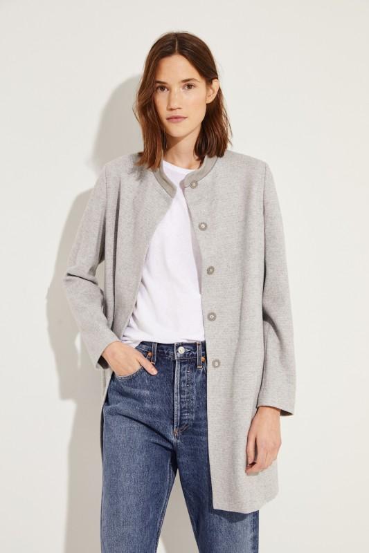 Woll-Seiden-Mantel mit Perlenverzierung Grau