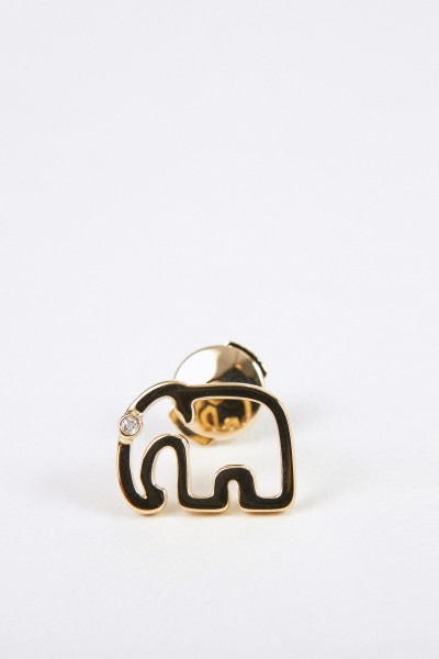 Yvonne Leon Ohrstecker 'Puce Elephant' mit Diamant Gold