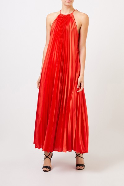 Long pleated dress Red