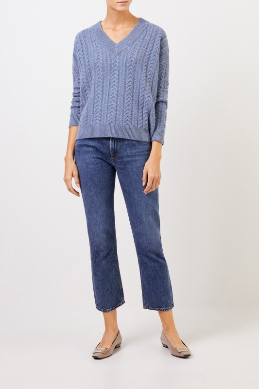 Uzwei V-Neck Cashmere-Pullover mit Zopfmuster Denimblau