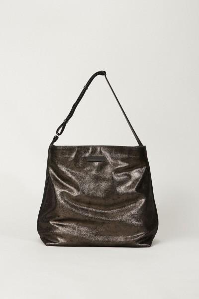 Leder-Shopper mit Lurexdetails Grau/Blau