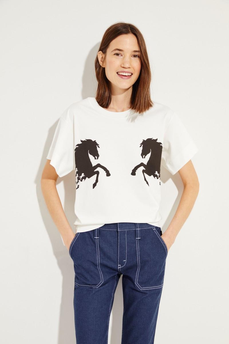 T-Shirt mit Pferde-Print Iconic Milk