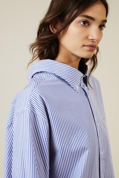 Oversize Bluse Blau/Weiß