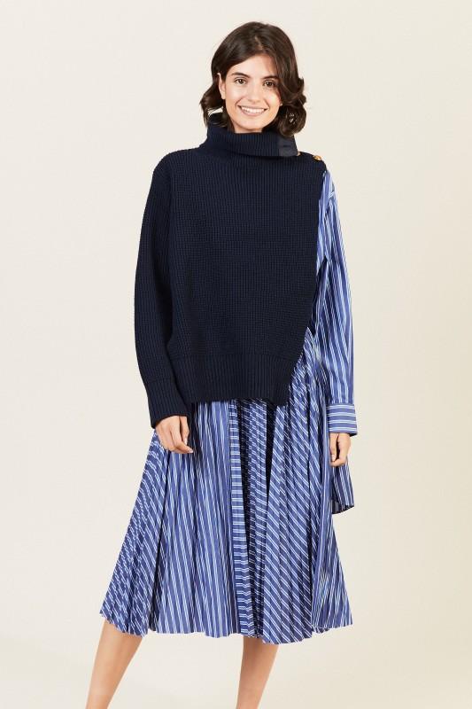 Gestreiftes Hemdblusenkleid mit Strickdetail Blau/Weiß