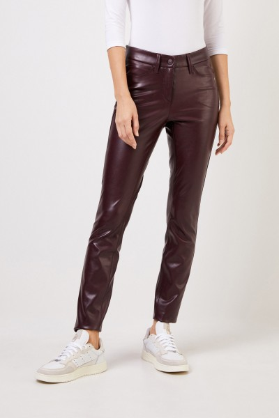 Cambio Classic leather trousers 'Ray' Bordeaux