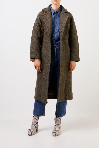 Long wrap coat in textured bouclé wool Khaki