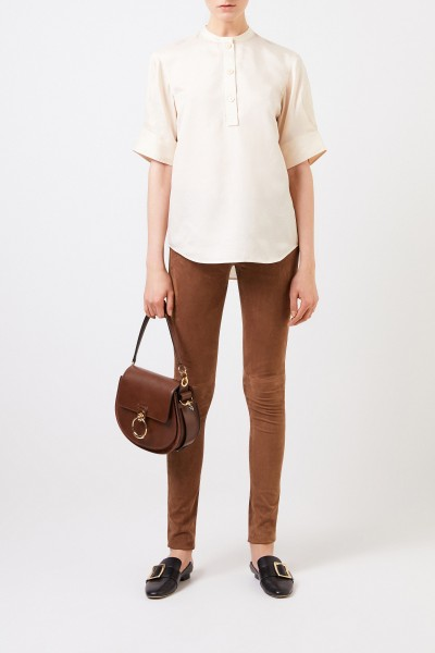 Suede leather pants Brown
