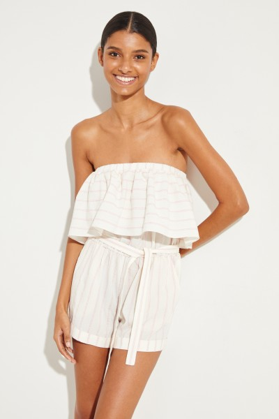 Off-Shoulder Jumpsuit 'Awekw Ruffle' Crème/Rosé