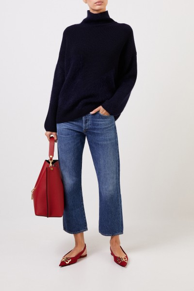 Wool sweater with stand-up collar navy blue