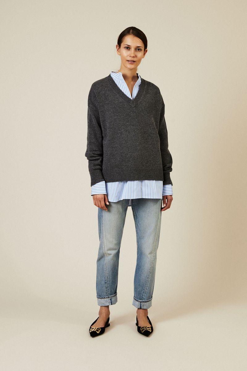 Oversize V-Neck Pullover Anthrazit
