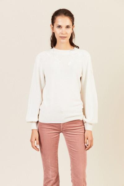 Pullover mit floraler Applikation Crystal White
