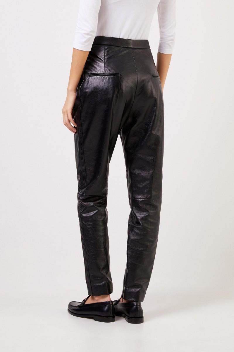 Saint Laurent Leather pleated trousers Black