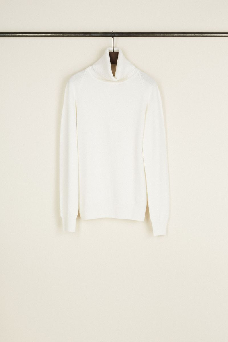 Cashmere-Rollkragenpullover Weiß