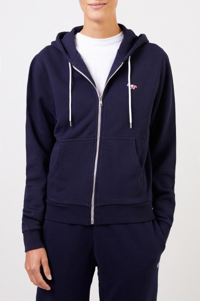 Maison Kitsuné Hoodie 'Tricolor Fox Patch' with hood Navy Blue