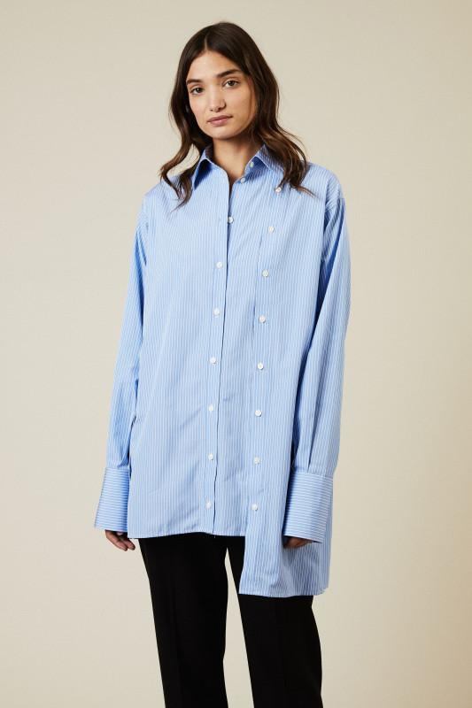Gestreifte Bluse mit Knopfdetails Blau/Weiß