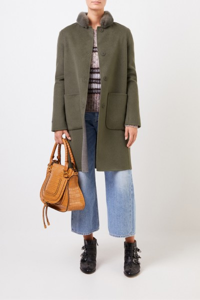 Cashmere wool coat with mink collar Green/Grey