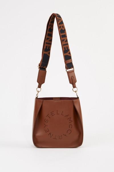 Stella McCartney Mini shoulder bag with logo strap Brown