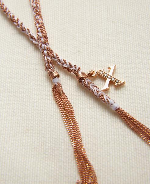 Carolina Bucci Armband 'Lucky Bracelet' 18 Kt. Roségold/Weißes Seidenband