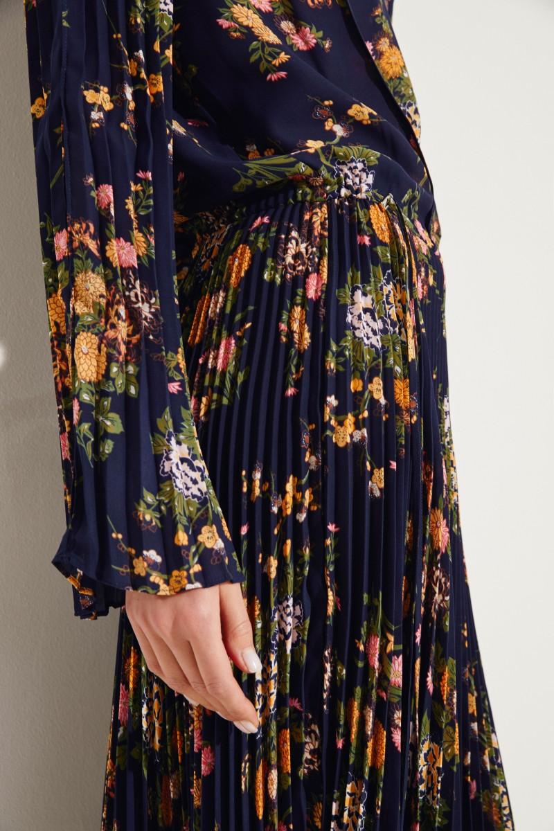 Plissee-Kleid mit Print Blau/Multi