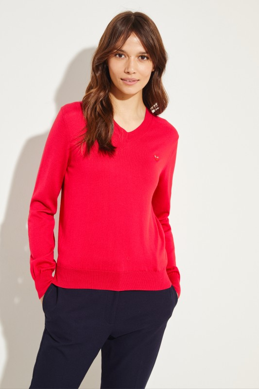 b0c65c53b47 Wool Pullover with Heart Emblem Red