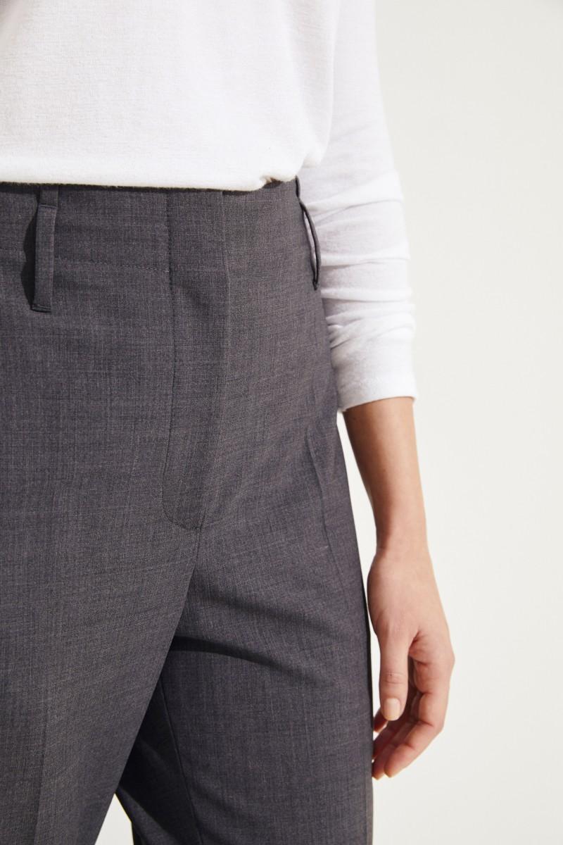 Brunello Cucinelli Woll-Hose mit Perlenverzierung Grau