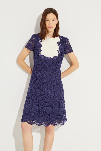 Short lace dress Blue/Cream
