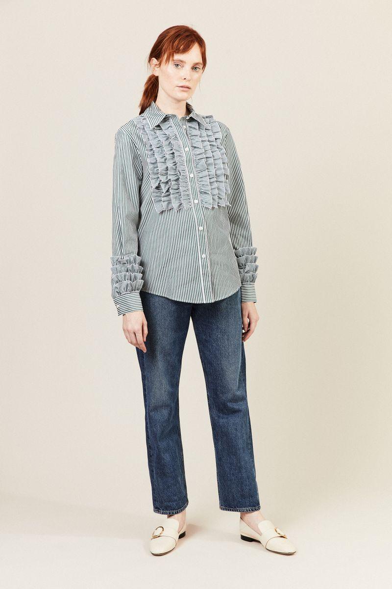 Gestreifte Bluse mit Rüschen-Details Grün/Weiß