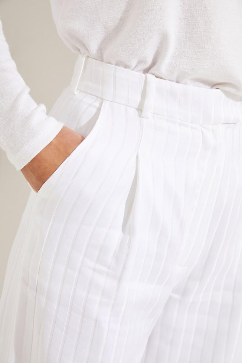 Baumwoll-Seiden-Hose 'Mama' mit Streifenmuster Crème