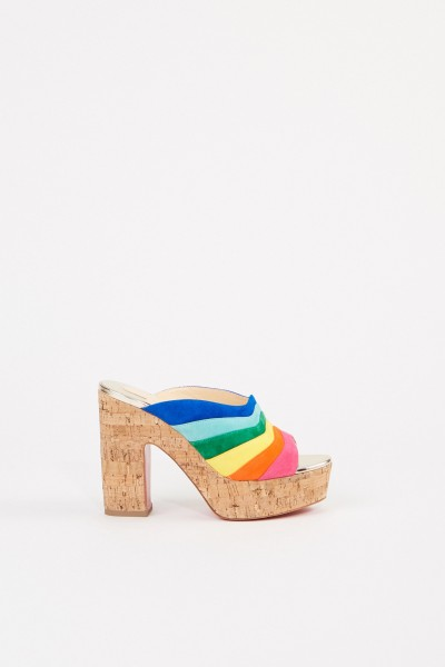 Suede leather mules 'O Sister' Cork/Multi