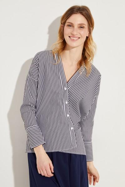 Bluse mit diagonaler Knopfleiste Schwarz/Weiß