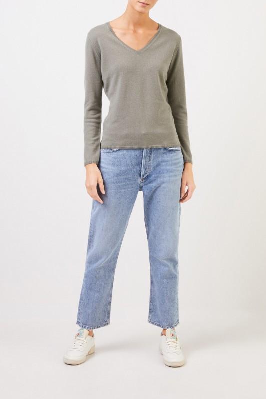 Uzwei Cashmere-Pullover mit V-Neck Salbei