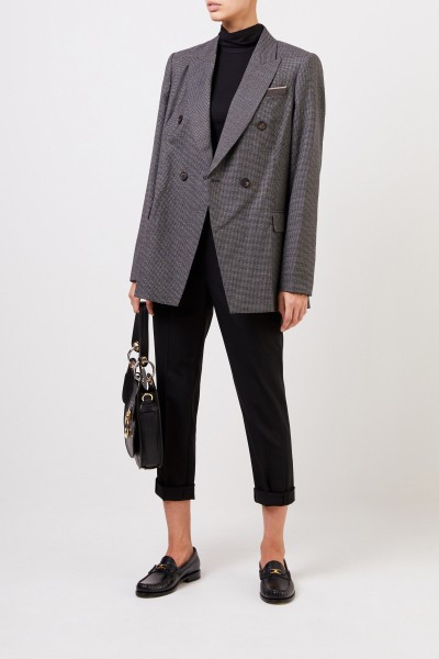 Checked wool blazer with pearl decoration black/grey