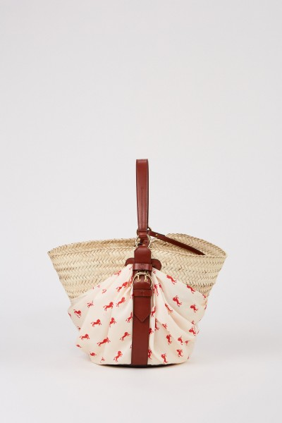 Korb-Tasche mit Tuch-Detail Multi