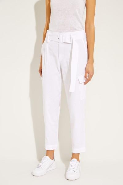 Hose mit Gürtel Weiß