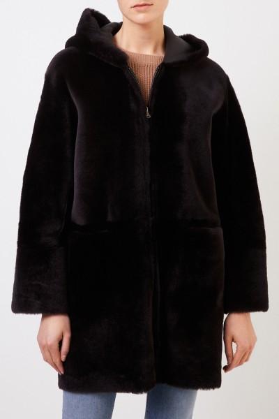 Benedetta Novi Reversible lambskin coat 'Ruby' with hood Dark Brown