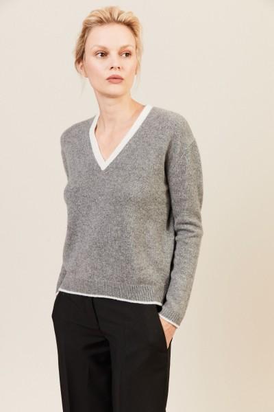 V-Neck Cashmere-Pullover Grau