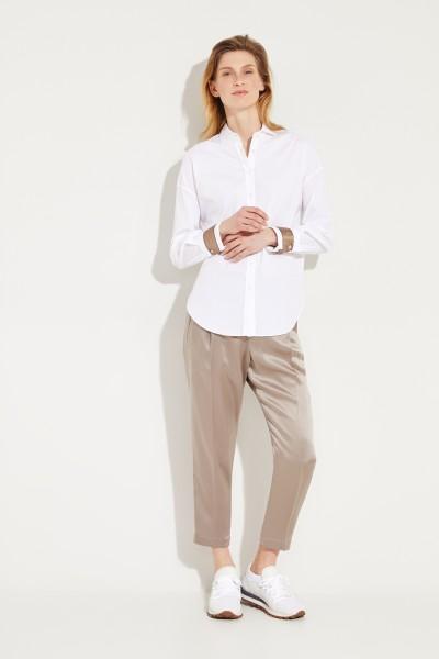 Bluse mit Seidendetails Weiß/Braun