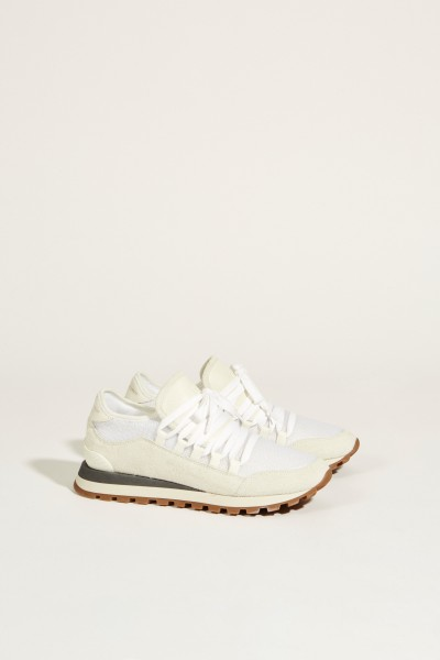 Veloursleder-Sneaker Weiß