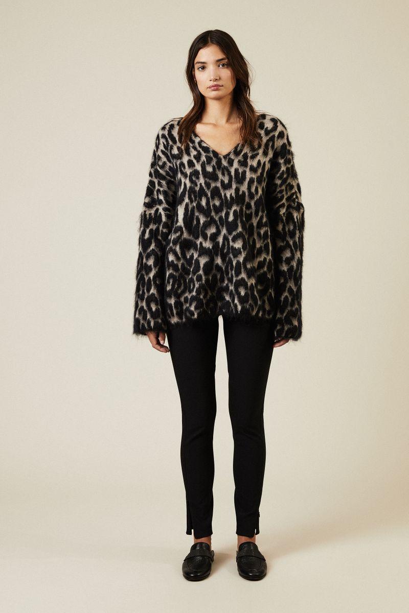 Oversize Pullover mit Leoparden-Print Schwarz/Grau