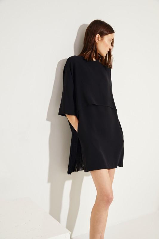 Stella McCartney Kleid mit Fransen Schwarz