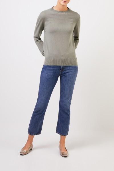 Uzwei Cashmere sweater with rib knit collar Sage
